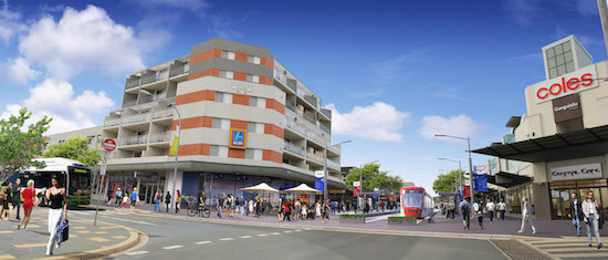 An artist's impression of Gungahlin with a tram stop.