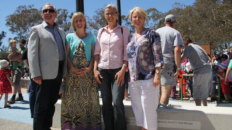 L-R: Boundless chair and ACT Land Development Agency chair Ross Barrett, former chief minister Katy Gallagher, landscape architect Deb Matthews, and Boundless secretary Natalie Howson.
