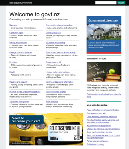 A more colourful govt.nz beta site.