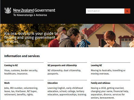 The govt.nz website today.