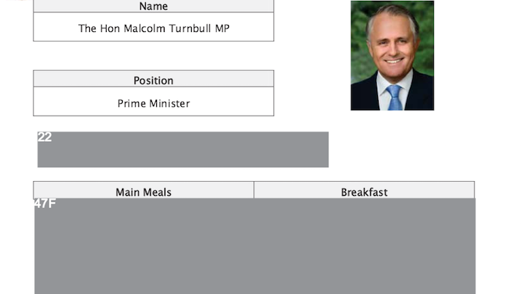 Meals revealed for Abbott and Rudd, but Turnbull tray-table censored