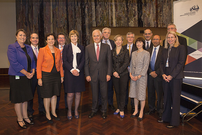Prime Minister Malcolm Turnbull with the APS secretaries.