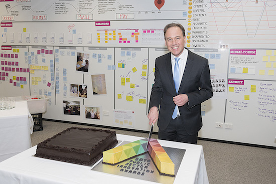 One of Greg Hunt's first duties as Minister for Industry, Innovation and Science.