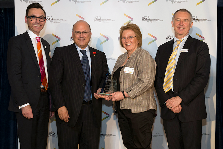 The Tasmanian Department of Education representatives receive their award. (Image: RLDI)