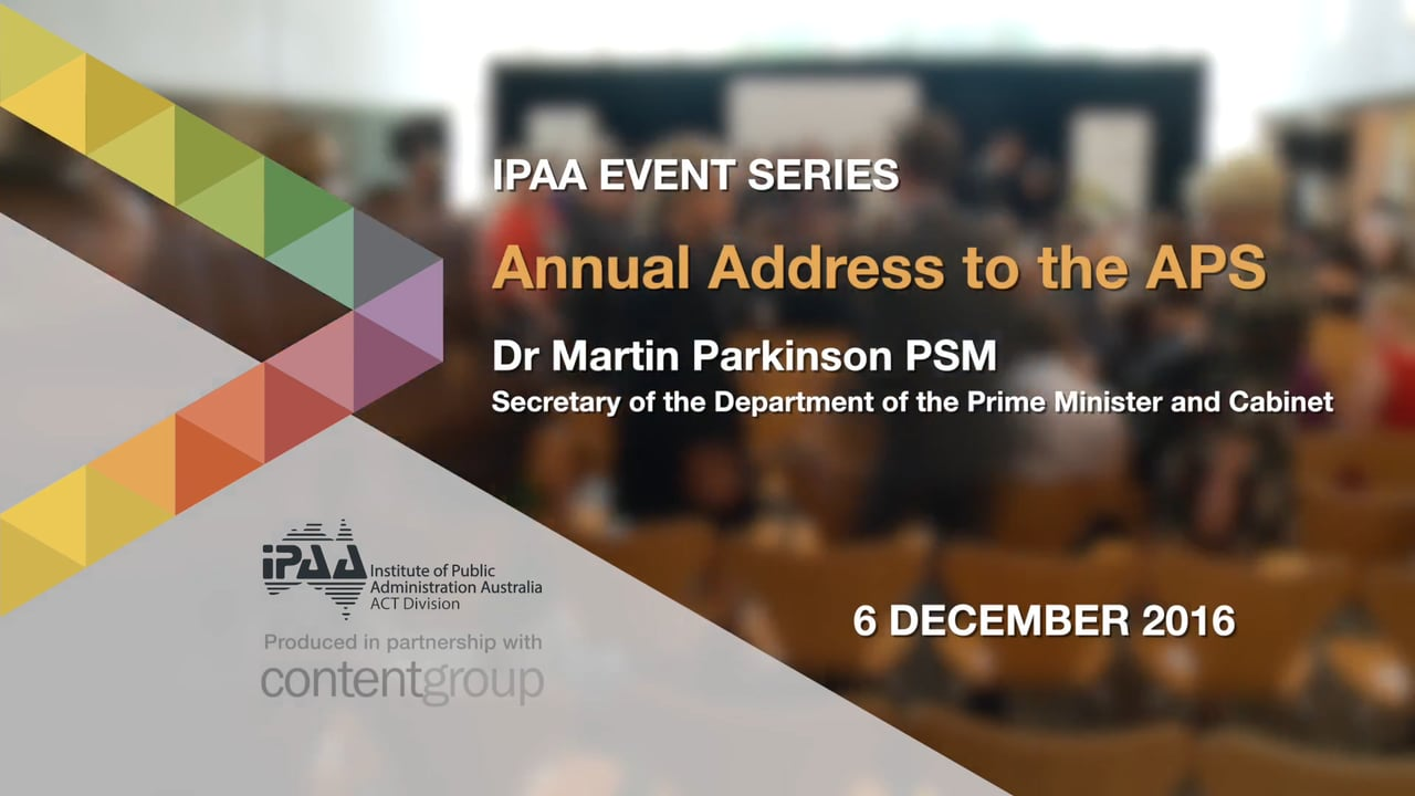 Martin Parkinson's annual address to the APS