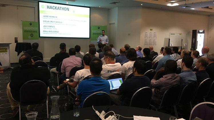 Steve Crutchfield addresses developers before the 48-hour hackathon begins.