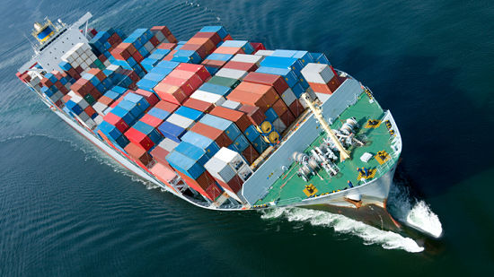 An aerial view of a container ship. Please see my Ships lightbox: