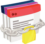 files bound by chain and padlock