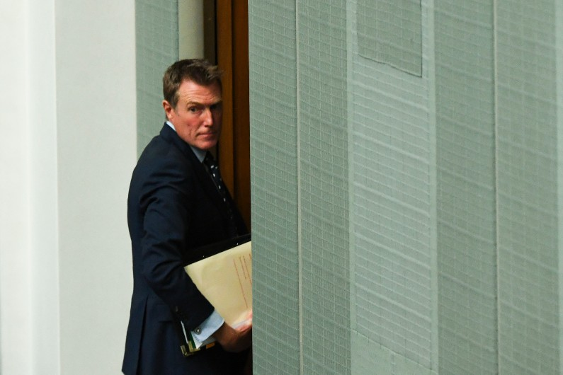 Attorney-General Christian Porter leaves at the end of House of Representatives Question Time at Parliament House in Canberra, Thursday, February 4, 2021