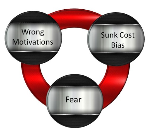wrong motivation, sunk cost bias and fear are reasons for poor career decisions