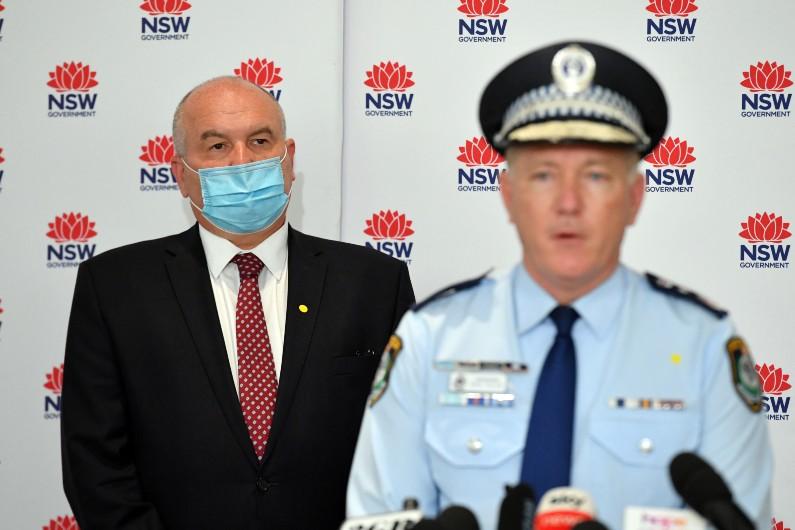 NSW Police Minister David Elliott and Police Commissioner Mick Fuller.