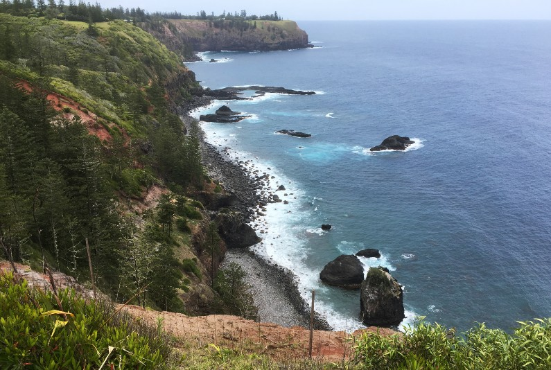 The federal government's failing of Indigenous Australians and Norfolk Islanders risks undermining Australia's Pacific Step-up policy. A general view of shingle beach, Norfolk Island.