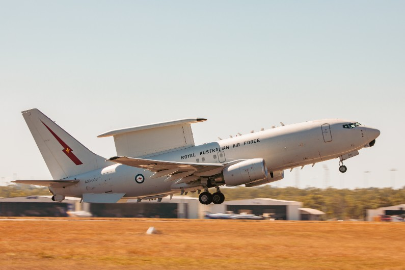 E-7A Wedgtail aircraft, A30-006, from No. 2 Squadron prepares takes off from RAAF Base Darwin during Exercise Rogue Ambush 21-1.